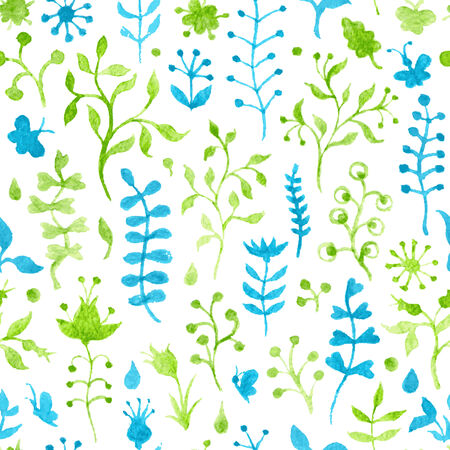 Hand-drawn green and blue watercolor nature silhouettes on white background. Seamless pattern can be used for wallpapers, web page backgrounds or wrapping papers. Vector