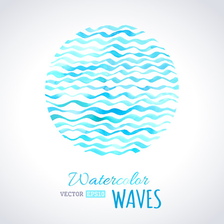 Blue watercolour waves on light background. Vector illustration. There is place for your text. Vector