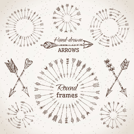 native american: Ethnic arrows, round frames and page dividers.