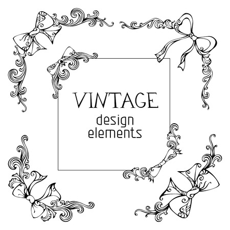 Hand-drawn design elements isolated on white background. Vector