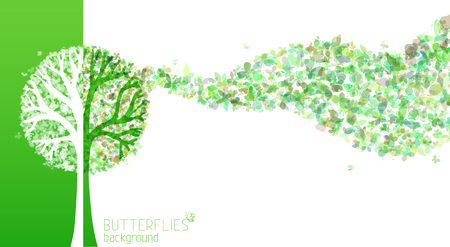 bole: Butterflies on tree. Green and white vector illustration. There is place for your text.