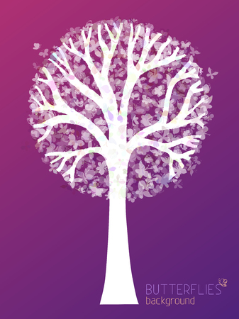 bole: White tree silhouette with butterflies in its twigs. There is place for your text.