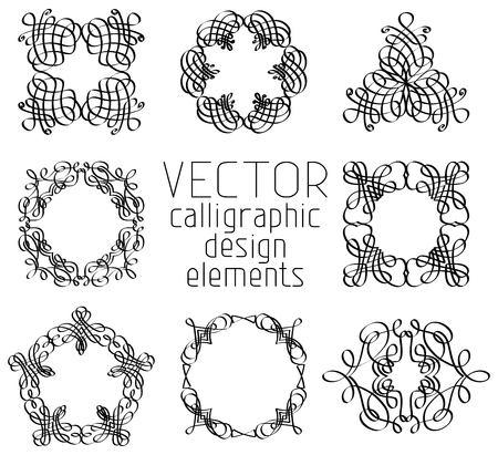 Eight vintage black calligraphic flourishes isolated on white background. Vector