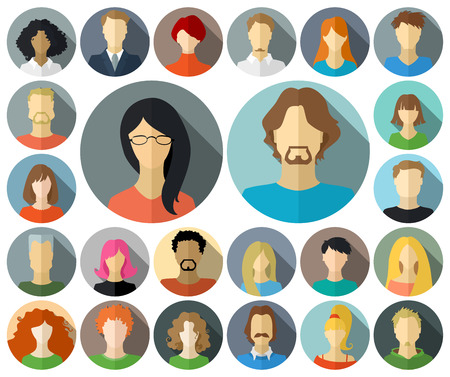 woman face: Set of circle icons in flat style with long shadow.