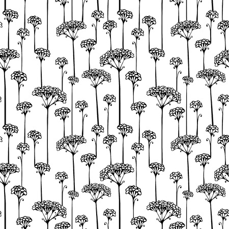 floral vectors: Black silhouettes on white background. Seamless texture. Nature template.