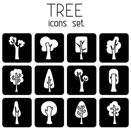 White tree silhouettes on black square background for your design. Isolated on white background. Vector