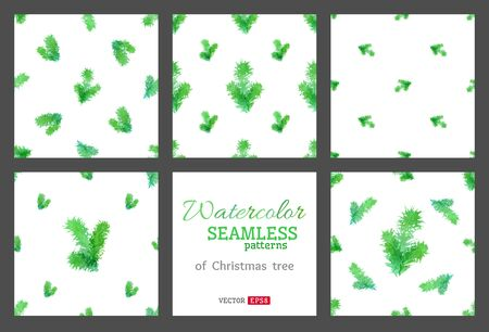 pine boughs: Set of seamless nature patterns. Illustration