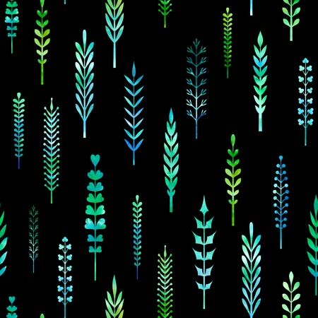 watercolour: Seamless pattern of watercolour leaves.