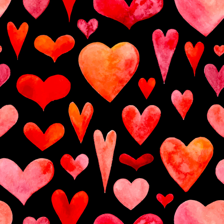 Seamless watercolour hearts pattern. Vector
