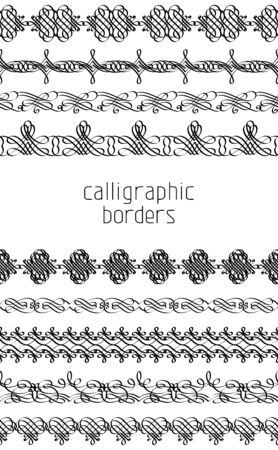 Seamless vintage page decorations and dividers isolated on white background. Vector