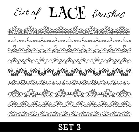 lace filigree: Vector set of seamless borders. All used pattern brushes included. Black and white illustration. Illustration
