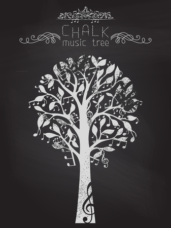 bole: Music notes and treble clefs on tree. Vector illustration. Illustration