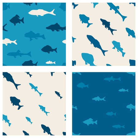 Various fish in the sea. Sea summer backgrounds for your design. Vector