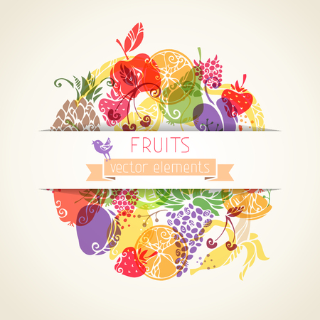 There is place for your text in the center. Vintage fruits for your design. Vector background. Vector