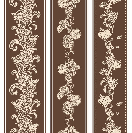 Vertical borders for your design in sepia. Grape, raspberry, cherry, lemon and strawberry.