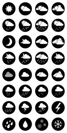 partly sunny: Day and night icons for your design.