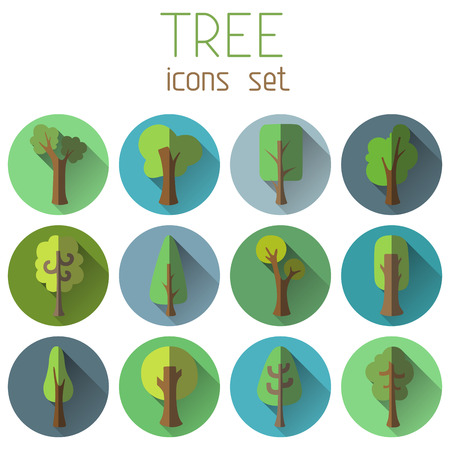 Various trees on coloured circles for your design. Isolated on white background. Vector