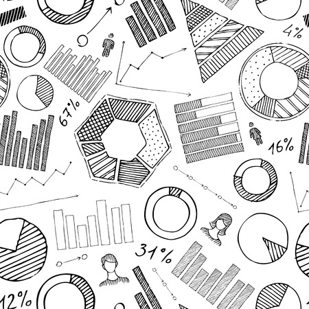 Vector pencil doodles on white background. Various diagrams and graphs. Vector