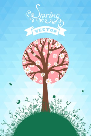 Tree in bloom on blue hexagons sky. There is place for your text. Vector