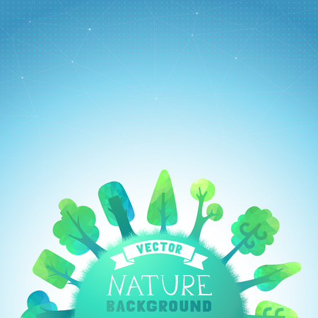 Vector geometric trees and grass silhouettes. There is place for your text on the Earth and in the sky.