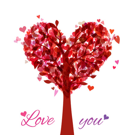 Tree in the shape of heart isolated on white background. Vector