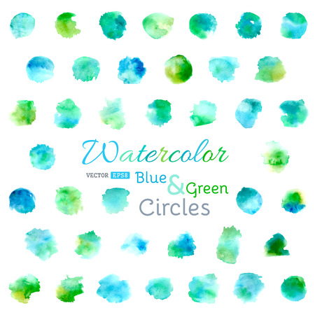 watercolour: Set of vector watercolour circles. Illustration