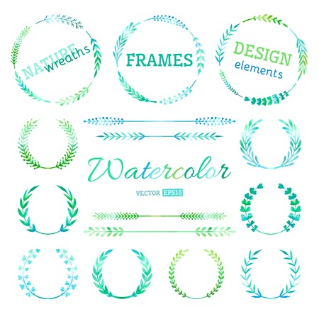 Hand-drawn nature wreaths, frames ans page dividers isolated on white background. All used brushes for wreathes are included.