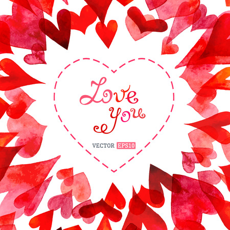 Vector watercolor hearts background. There is place for your text in the center. Stock Illustratie