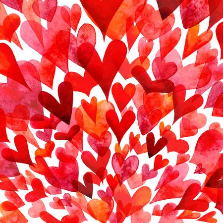 Vector watercolor hearts background.