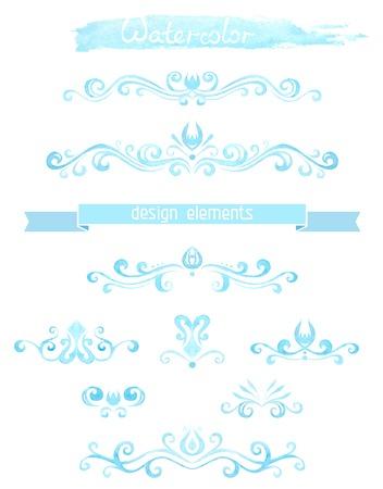 aqua flowers: Vector set of vintage watercolor design elements. Illustration