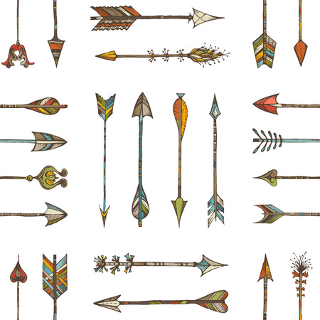 Seamless pattern of ethnic arrows. Hand-drawn various arrows on white background.  イラスト・ベクター素材