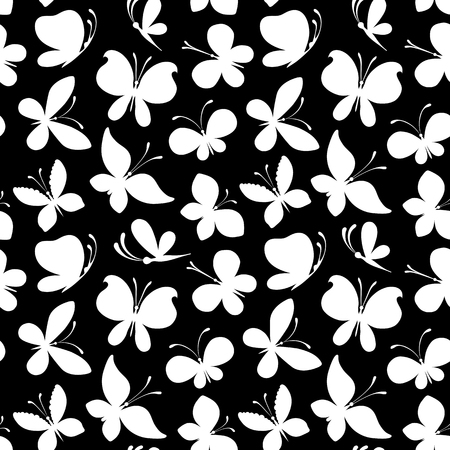 decorative patterns: Seamless pattern of butterflies. Duotone vector illustration for your design.