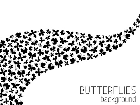 black butterfly: Butterflies background. Black and white background. Set of black butterflies silhouettes on white background. Illustration