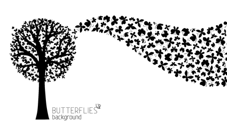 bole: Black tree silhouette with butterflies in its twigs. Wave of butterflies. There is place for your text.