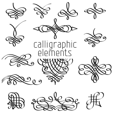 Vector set of calligraphic design elements. Page decorations, dividers, vintage frames and headers.