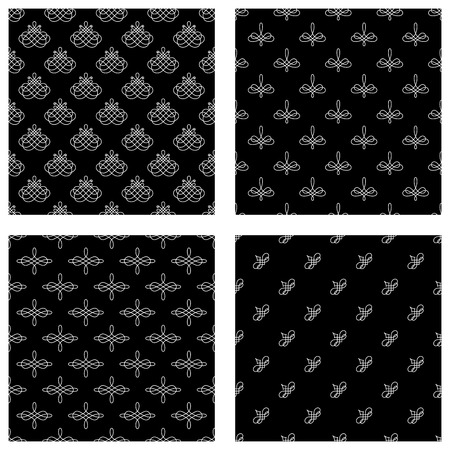 Vector set of seamless patterns. White calligraphic flourishes on black background. Vector