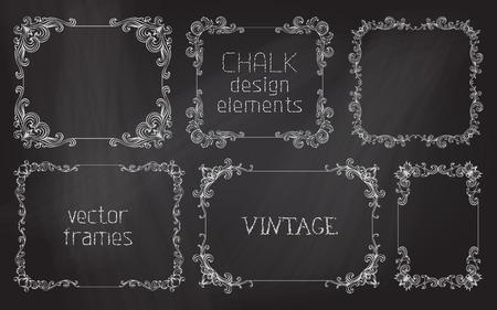Vector set of chalk calligraphic frames. Page decoration and vintage frames on chalkboard background.  イラスト・ベクター素材
