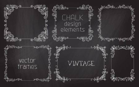 Vector set of chalk calligraphic frames. Page decoration and vintage frames on chalkboard background. Ilustracja