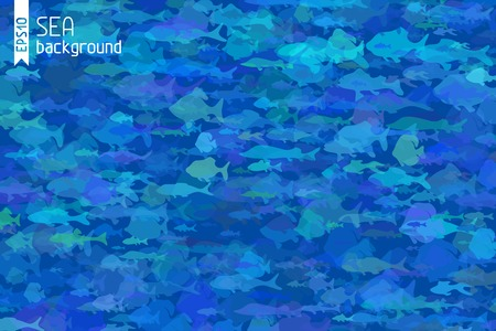 Blue fish background. Various fish in the sea. There is place for your text. Vector