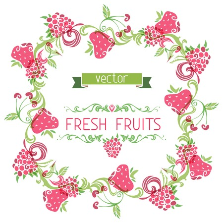 Square fruits frame. There is place for your text in the center. Menu design. Vector