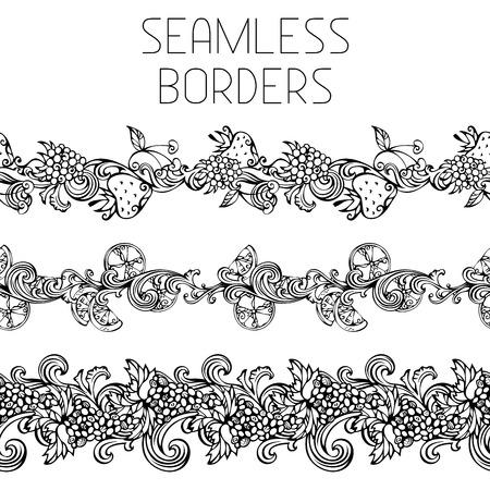 Seamless vintage fruits borders. Horizontal black borders for your design. Grape, raspberry, cherry, lemon/orange and strawberry.