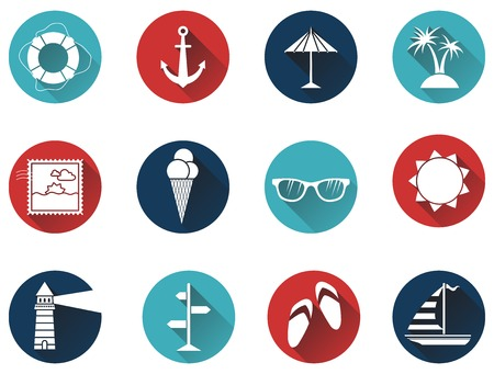 sandal tree: Set of 12 round icons with long flat shadow. Sea summer icons for your design isolated on white background. White silhouettes on colored icons. Illustration