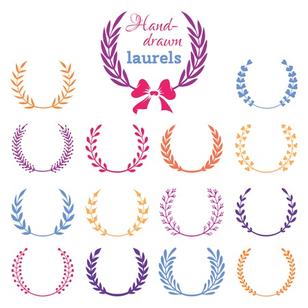 Vector set of colourful laurel wreaths. Hand-drawn design elements isolated on white background.