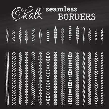Vector set of chalk seamless borders. Hand-drawn page decorations, flourishes and design elements on chalkboard background.  All used pattern brushes included.