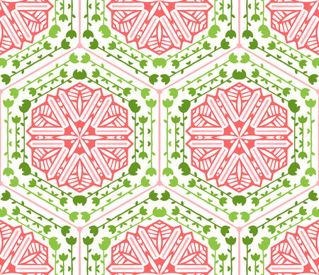 duotone: Seamless geometric pattern. Green and red background. Nature elements. Illustration