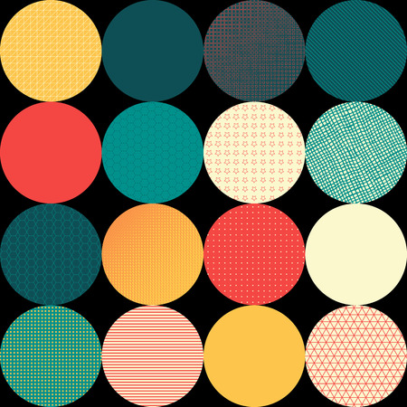 Seamless vector pattern of circles. Circles with various texture on black background in retro style. Vector
