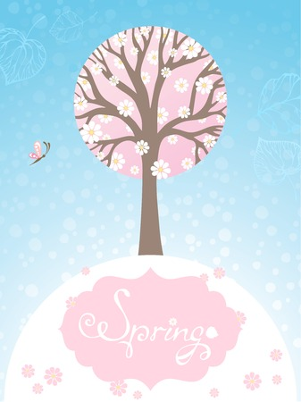 and four of the year: Spring background. Tree in bloom on blue background. There is place for your text.