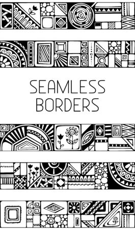 Set of seamless geometric borders. Hand-drawn borders for your design isolated on white background. Vector