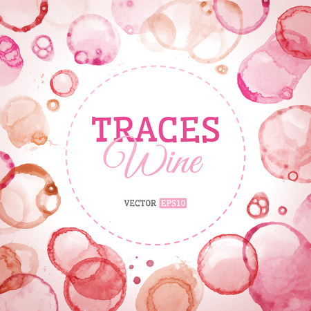 Traces wine background. Vector background of various wine stains and splashes. There is place for your text in the center. Vector