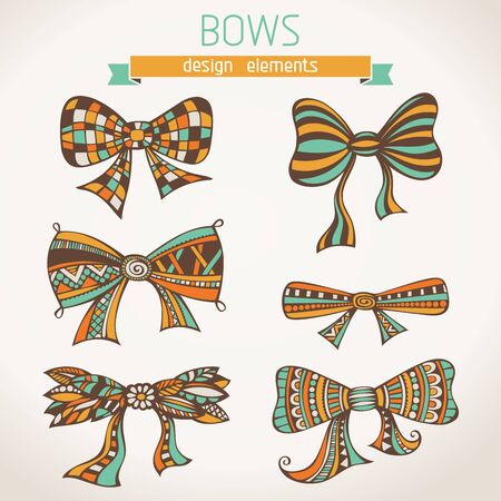 deign: Bows on paper background. Hand-drawn elements for your deign.